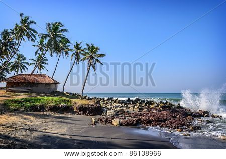 Tropical Indian village  in Varkala, Kerala, India
