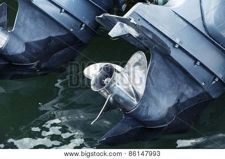Outboard Boat Motor Fragment With Shining Propulsion