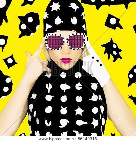 Polka Dots Monster Girl. Glamorous Disco Style.