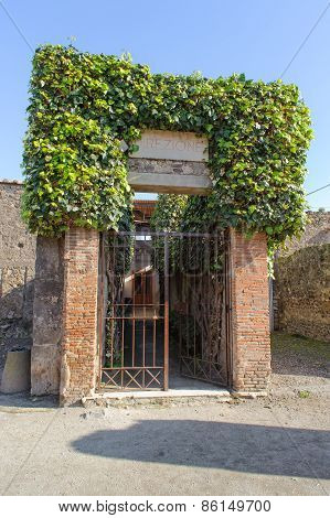 Entrance Of Ruined Villa In Pompeii