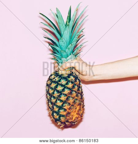 Pineapple In Hand. Fashion Minimal Design Style