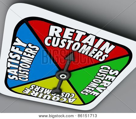 Retain, Serve, Satisfy and Acquire Customers words on a board game spinner to illustrate the steps of customer support and service for a successful business or company