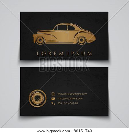 Business card template. Classic car logo.