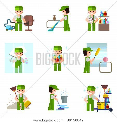 Cleaning company, vector icon, professional  people