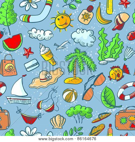 Summer Seamless Pattern With Food