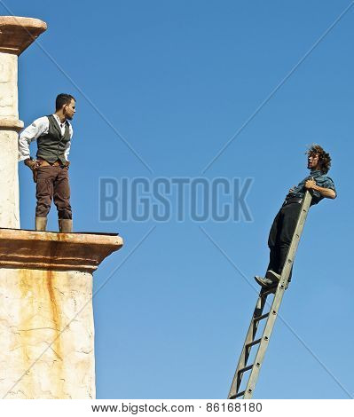 A Cowboy Stuntman Falls on a Ladder