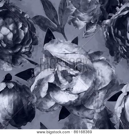 art vintage monochrome floral seamless pattern with white and black peonies on grey background