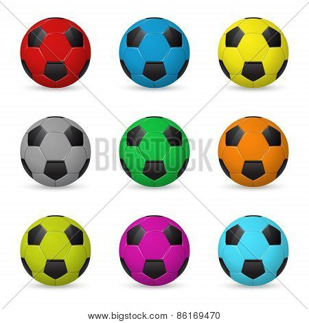Set Of Colored Vector Soccer Balls