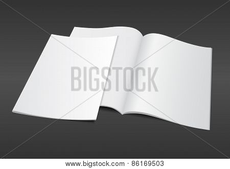 Blank Magazine Illustration On Dark Background