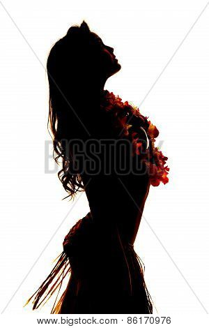 Silhouette Of Hawaiian Woman Close Side Grass Skirt