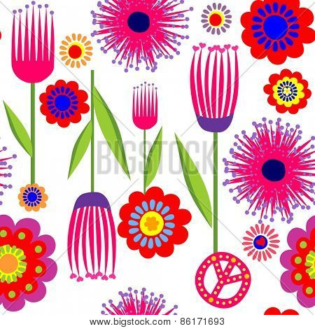 Funny wallpaper with abstract flowers