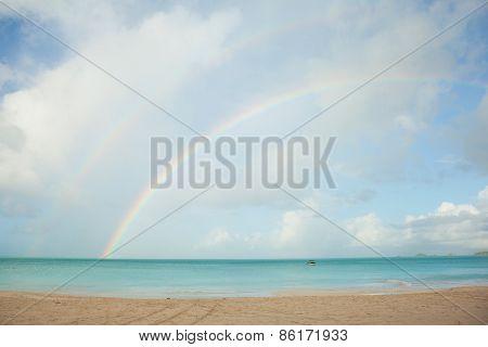 Rainbow Over Tropical Beach