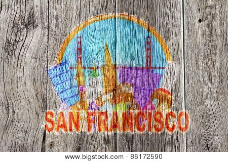 San Francisco Abstract Skyline Wood Background Illustration