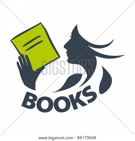 Vector Icon Girl Reading A Book