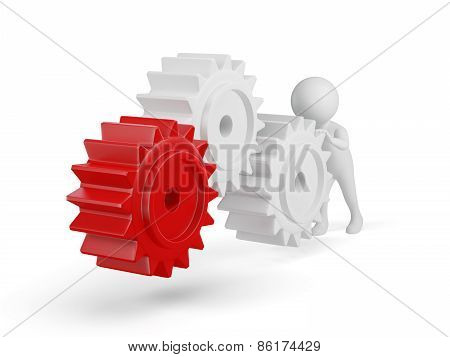 3d small person rolls a large gears. 3d image. Isolated white background.