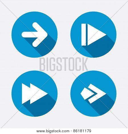 Arrow icons. Next navigation arrowhead signs. Direction symbols. Circle concept web buttons. Vector poster