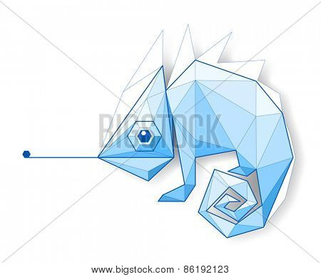 Chameleon. Low polygon linear vector illustration