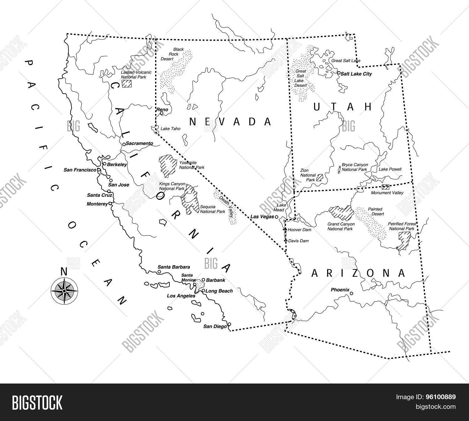 Us State Map Vector & Photo (Free Trial) | Bigstock