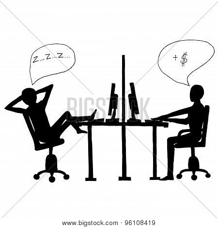 Lazy employee and workaholic