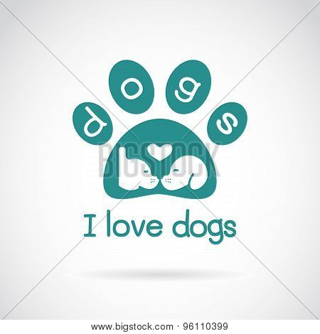Vector Image Of An Dog Head Design And Spoor On White Background.