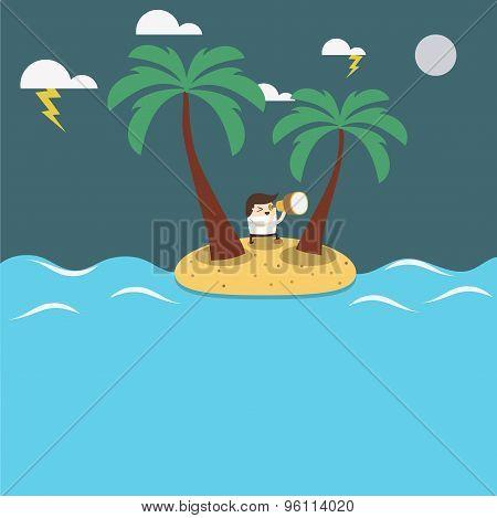 Man figure isolated on an island