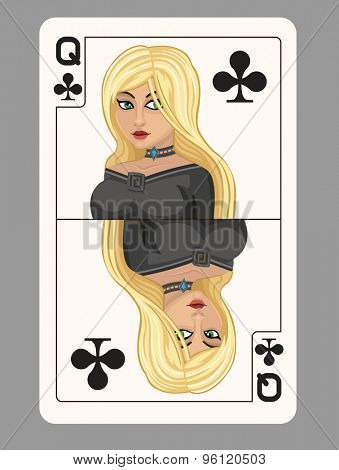 Queen of clubs playing card. Vector illustration