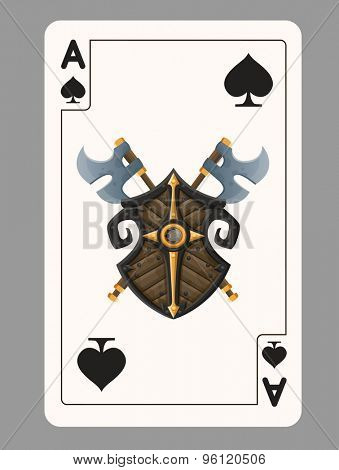 Ace of Spades playing card. Vector illustration