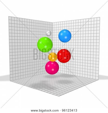 Bstract 3D Graph With Colorful Balls.