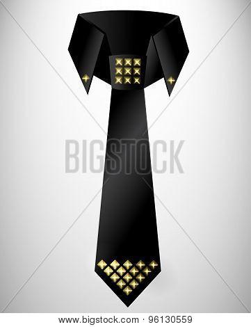 Abstract retro cravat, tie with stud