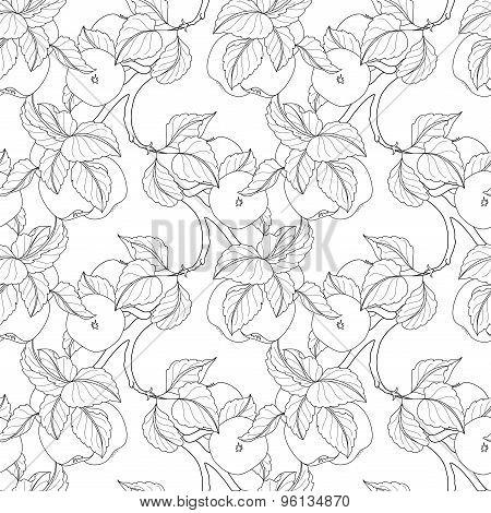 Vector Seamless Monochrome Fruit Pattern