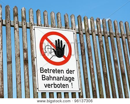 German Safety Sign - Keep Off The Railway