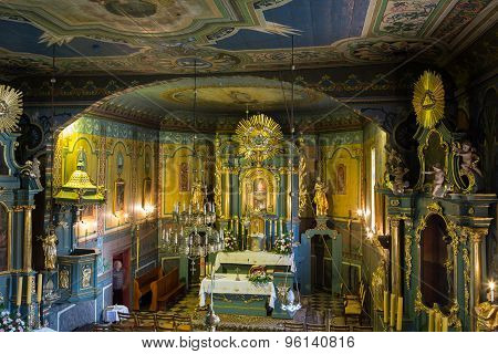 PODSTOLICE CRACOW POLAND - JUNE 30 2015: Interior of the wooden antique church in Podstolice near Cracow. Poland