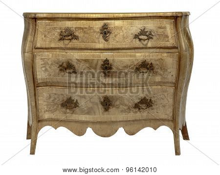 Old Antique European Chest Of Drawers Detailed Bleached
