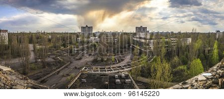 Wide angle view of Pripyat from Polissya Hotel. Chernobyl nuclear power plant zone of alienation poster