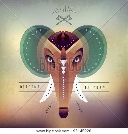 vector illustration of engraving elephant head . Mammoth.