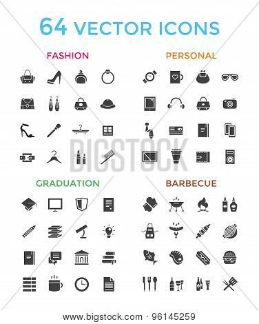 Vector objects icons set. Fashion, Education, or Babrbecue and Personal symbols. Stock design elemen