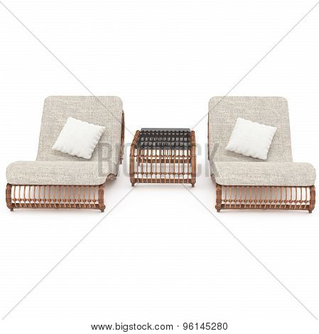 Deck chairs rattan table with front view 3d graphics