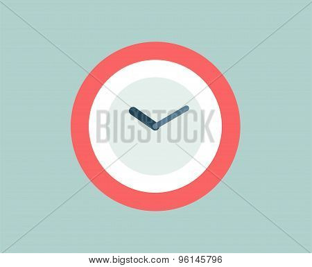 Red Clock vector icon isolated. Watch objects, or time and office symbol. Stock design element