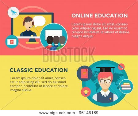 Webinar vector illustration. Online School , Courses and Communication Teamwork symbols. Stock desig