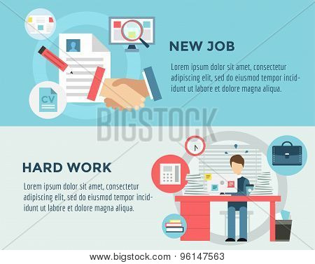 New Job after Hard Work infographic. Students, Stress, Clerk and Professions. Vector stocks illustra