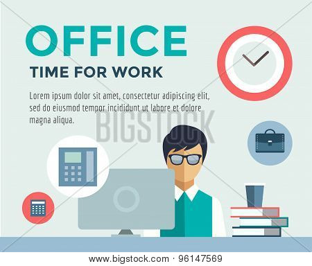 Clerk at Work infographic. Office, Table, Designer and Computer. Vector stock illustration for desig