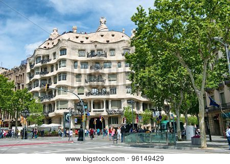 BARCELONA, SPAIN - MAY 01: Casa Milla, details of the facade of the house made by the Catalan architect Antonio Gaudi May 01, 2015 in Barcelona, Spain