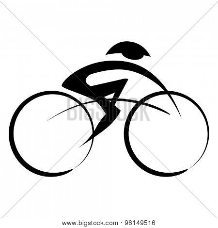 An image of an abstract person riding a bicycle while wearing a helmet.