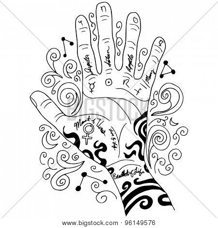 An image of a palm reading hand background.