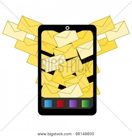 An image of an icon for spam email to digital device.