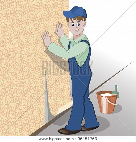 The Decorator Or Handyman Glues Wallpaper To Wall