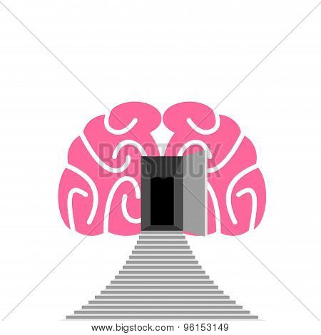 Open Door And Step Of  Human Brain. Entrance Into  Subconscious. Vector Illustration.