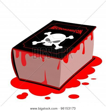 Necronomicon. Book Of Black Magic Is Dead. Horrible Old Black Book. Blood On Pages And Cover. Skull