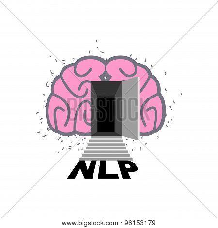 Nlp Logo. Brain With Door Open. Log Into My Consciousness. Vector Illustration