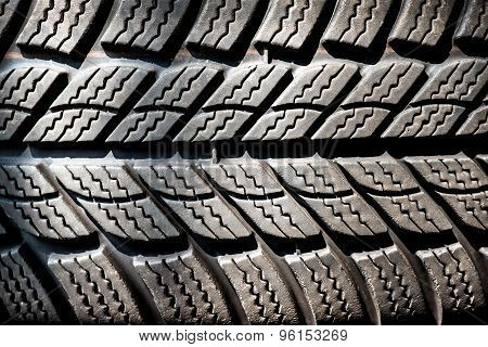 Detail Of A Winter Tire Tread